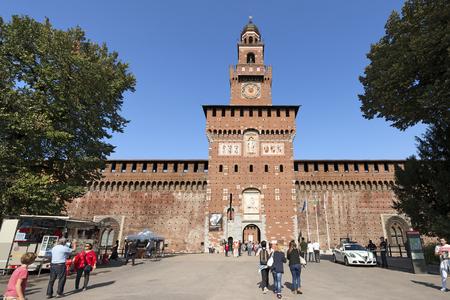 xv century: MILAN, ITALY - SEPTEMBER 24, 2016: People visiting the Sforza Castle XV century (Castello Sforzesco). It is one of the main symbols of the city of Milan, Lombardy, Italy