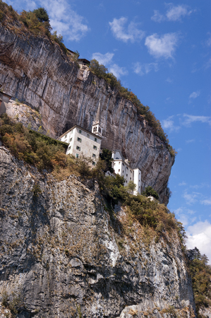 Madonna della Corona, the Sanctuary of Our Lady of the crown built on the rock overhanging the Adige Valley. Spiazzi, Verona, Veneto, Italy