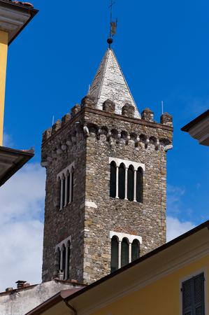 Bell tower of the cathedral of Santa Maria Assunta in Sarzana, La Spezia, Liguria, Italy