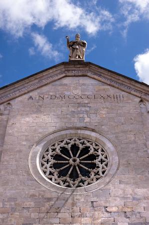 Detail of the facade of the cathedral of Santa Maria Assunta in Sarzana, La Spezia, Liguria, Italy