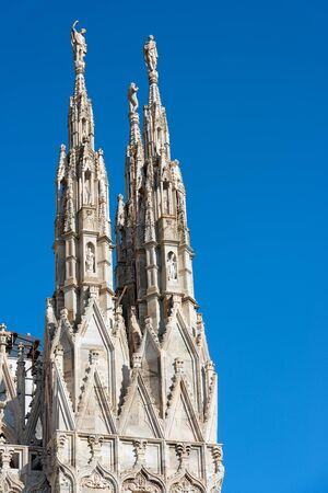 Detail of the facade of the Duomo di Milano (Milan Cathedral 1418-1577). Church monument symbol of Lombardy and of Italy