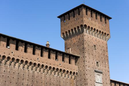 sforza: Sforza Castle XV century (Castello Sforzesco) in Milan, Lombardy, Italy with Tower of Bona (Torre di Bona di Savoia 1476) Editorial