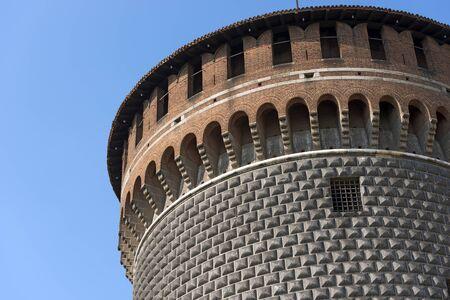 xv century: Detail of the Torrione di Santo Spirito (Tower of Holy Spirit), Sforza Castle XV century (Castello Sforzesco). Milan, Lombardy, Italy