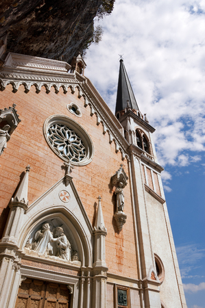Facade of the Madonna della Corona, the Sanctuary of Our Lady of the crown. Spiazzi, Verona, Veneto, Italy Stock Photo