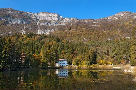 Lago di Cei (Cei Lake), small alpine lake in Italian Alps. Trento, Trentino Alto Adige, Italy, Europe
