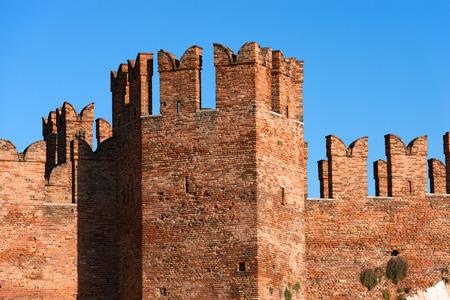 Detail of the ancient Scaligero bridge near Castelvecchio (Old Castle) with Ghibelline battlements in Verona   - Veneto, Italy