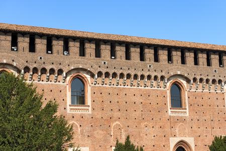 xv century: Detail of the Sforza Castle XV century (Castello Sforzesco). It is one of the main symbols of the city of Milan, Lombardy, Italy Editorial