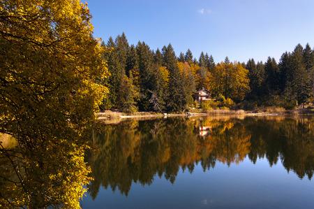 Lago di Cei (Cei Lake), small alpine lake in Italian Alps in autumn. Trento, Trentino Alto Adige, Italy, Europe
