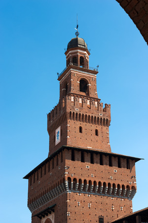 xv century: Detail of the clock tower of the Sforza Castle XV century (Castello Sforzesco). It is one of the main symbols of the city of Milan, Lombardy, Italy