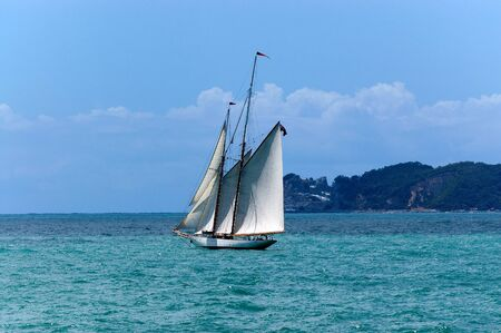 Sailing ship with two masts in the Gulf of La Spezia, Liguria, Italy