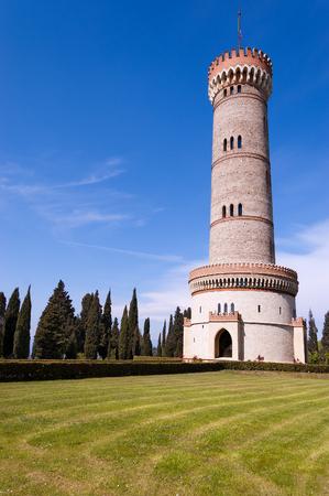 risorgimento: Tower of San Martino della Battaglia near the Garda Lake in neo-gothic style of the year 1878 - Celebration of the Italian Risorgimento Stock Photo