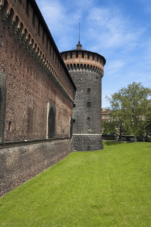 Detail of the Torrione del Carmine (Tower of Carmine), Sforza Castle XV century (Castello Sforzesco). Milan, Lombardy, Italy