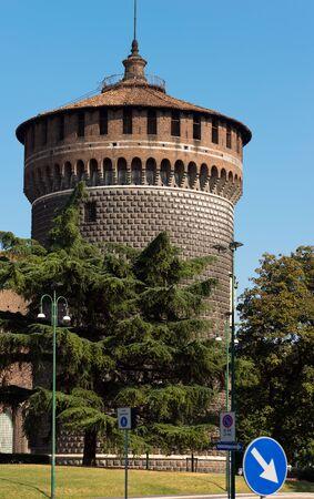 sforza: Torrione di Santo Spirito (Tower of Holy Spirit), Sforza Castle XV century (Castello Sforzesco). Milan, Lombardy, Italy