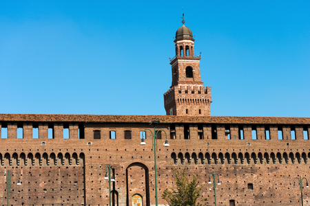 sforzesco: The clock tower of the Sforza Castle XV century (Castello Sforzesco). It is one of the main symbols of the city of Milan, Lombardy, Italy