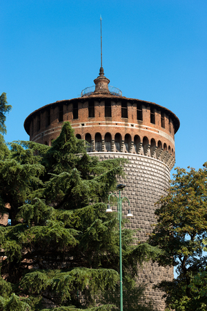xv century: Torrione di Santo Spirito (Tower of Holy Spirit), Sforza Castle XV century (Castello Sforzesco). Milan, Lombardy, Italy