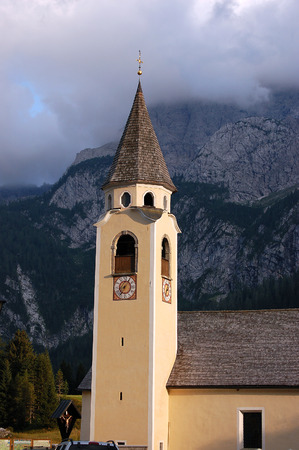 Church of SantOsvaldo 1732 (St. Oswald) in Sappada, small town in the Italian Alps, Belluno, Veneto, Italy, Europe