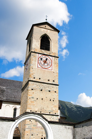 The Ancient Benedictine convent of Saint John (UNESCO world heritage site), in Monastery valley Mustair, Grisons, Switzerland Stock Photo