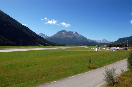 Airport in Engadine Valley near Samedan and Saint Moritz, towns in Grisons canton, Switzerland, Europe Stock Photo