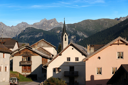 The small ancient village of Guarda with the Swiss Alps. Scuol, Engadine Switzerland, Europe Stock Photo
