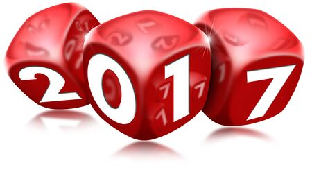 red dice: Three red dice with the written 2017 and reflections