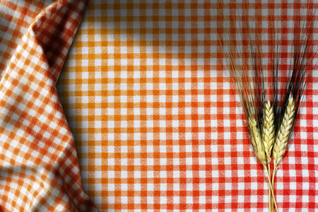 Three ears of wheat on an empty red, orange and white checkered tablecloth with shadows and copy space