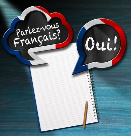 francais: Two speech bubbles with French flag and text Parlez-vous Francais? Oui! (Do you speak French? Yes!) On a desk with blank notebook and pencil