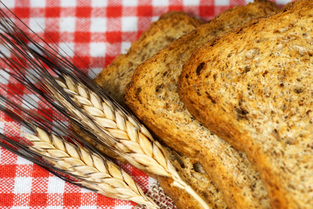 whole wheat toast: Detail of healthy rusks of wholemeal flour on a table with red and white checkered tablecloth and ears of wheat