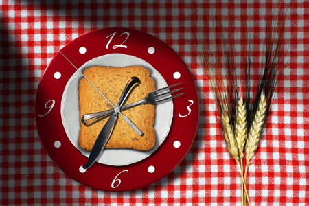 Breakfast Time - Rusks with Clock Stock Photo