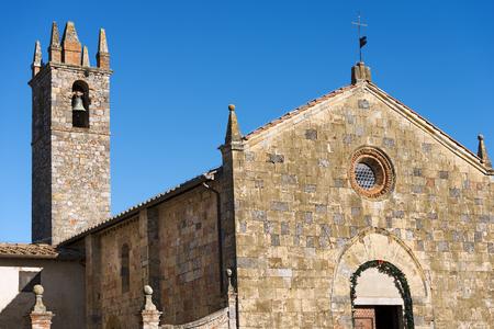 Church of Santa Maria Assunta (XIII century) in the ancient medieval village of Monteriggioni, Siena, Toscana (Tuscany), Italy, Europe