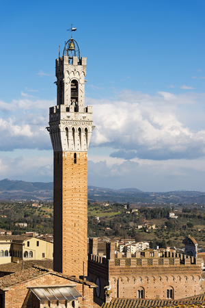The Torre del Mangia 87 m. (Tower of Mangia) 1348. In the ancient city of Siena, Toscana (Tuscany), Italy