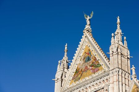 gargouille: Detail of the facade of the Siena Cathedral (Santa Maria Assunta) 1220-1370. Toscana (Tuscany), Italy, Europe