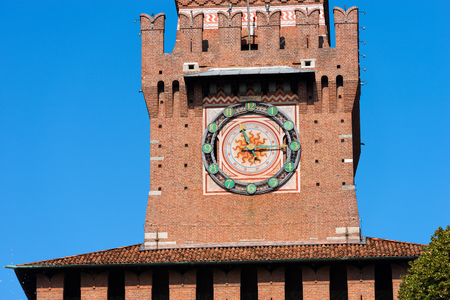 sforza: Detail of the clock tower of the Sforza Castle XV century (Castello Sforzesco). It is one of the main symbols of the city of Milan, Lombardy, Italy