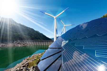Energia rinnovabile - Luce solare con pannello solare. Vento con turbine eoliche. Pioggia con diga per l'energia idroelettrica Archivio Fotografico - 71330665