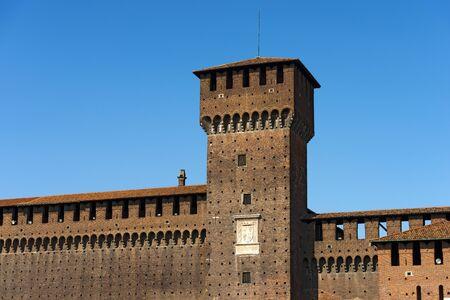 xv century: Detail of Sforza Castle XV century (Castello Sforzesco) in Milan, Lombardy, Italy with Tower of Bona and Giovia