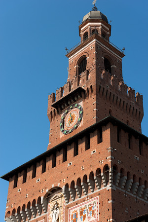 xv century: Detail of the tower of Filarete (clock tower) of the Sforza Castle XV century (Castello Sforzesco). It is one of the main symbols of the city of Milan, Lombardy, Italy Stock Photo