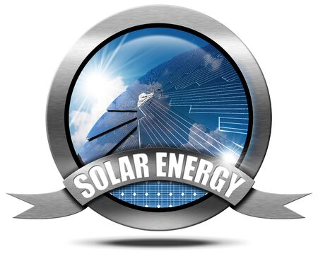 Solar Energy - Illustration of a metallic round icon or symbol with a solar panel, blue sky, cloud and sun rays. Isolated on white background Stock Photo