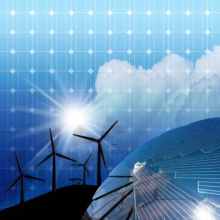 cell tower: Solar panel and illustration of four silhouettes of wind turbines in mountain on a blue sky with clouds and sun rays