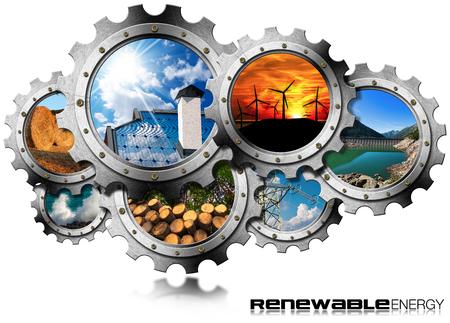 再生可能エネルギーの概念 - 持続可能なエネルギーをもつ歯車のグループ。風力、太陽光、バイオマス、水力発電、海の力