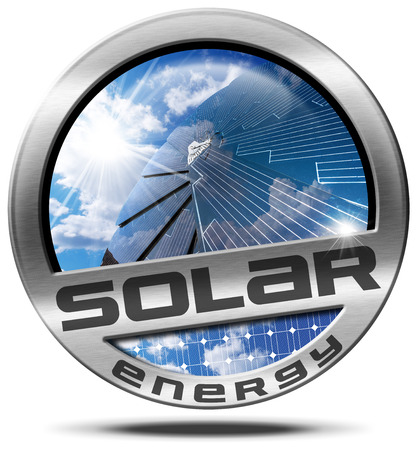 Solar Energy - Illustration of a metallic round icon or symbol with a solar panel, blue sky, clouds and sun rays. Isolated on white background Stock Photo