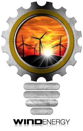 Wind Energy - 3D illustration of a metallic gear in the shape of a light bulb with a group of wind turbines at sunset. Isolated on white background Stock Photo
