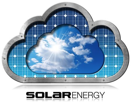 Solar Energy - Illustration of a metallic cloud with a solar panel, blue sky, clouds and sun rays inside. Isolated on white background