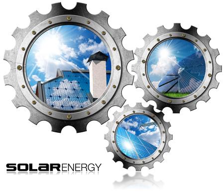 Zonne-energie - Drie metalen tandwielen (3D afbeelding) met zonnepanelen, blauwe hemel, wolken en zonnestralen (foto's). Geïsoleerd op witte achtergrond
