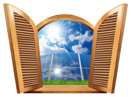 Wooden window with open shutters (3d illustration) with a group of solar panels, blue sky, clouds and sun rays inside (photo). Concept of residential solar energy