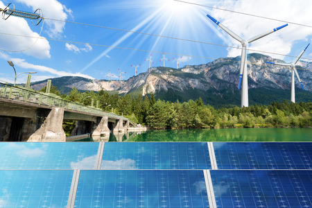 Renewable Energy - Sunlight with solar panel. Wind with wind turbines (3d illustration). Water with dam for hydropower Stock Photo