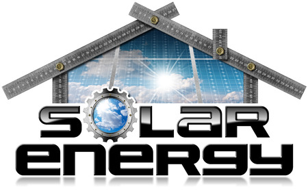 Metal ruler in the shape of house (photo) with text Solar Energy (3D illustration) and solar panels inside. Isolated on a white background Stok Fotoğraf