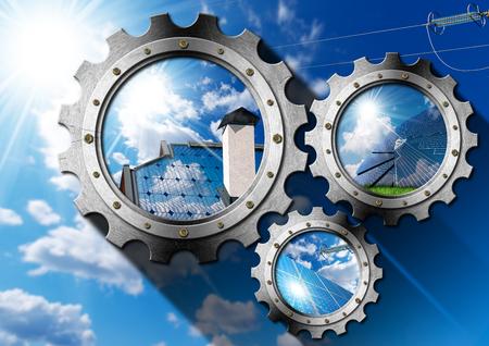 Solar Energy - Three metal gears (3D illustration) with solar panels, blue sky, clouds and sun rays (photos) Stock Photo