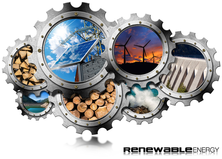 Renewable Energy Concept - 3D illustration of a group of gears with the sustainable energies. Wind, solar, biomass, hydropower, power of the sea
