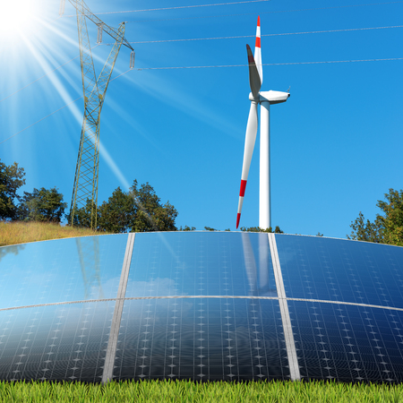 source of light: Group of solar panels with a wind turbine and a power line on a clear blue sky with sun rays. Solar and wind energy Stock Photo
