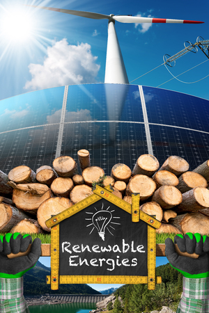 Renewable energies sources - Wind energy (wind turbine), solar energy (solar panels), biomass (tree trunks) and hydropower (dam for hydroelectric power) Stock Photo