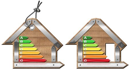 Energy Efficiency - 3D illustration of two symbols in the shape of house with energy efficiency rating. Isolated on white background Stock Photo